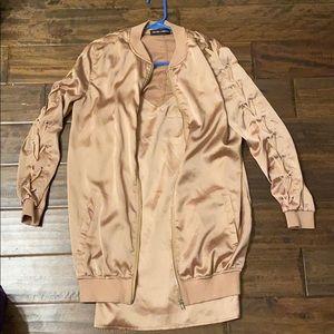 Satin dress & bomber jacket (size 2)